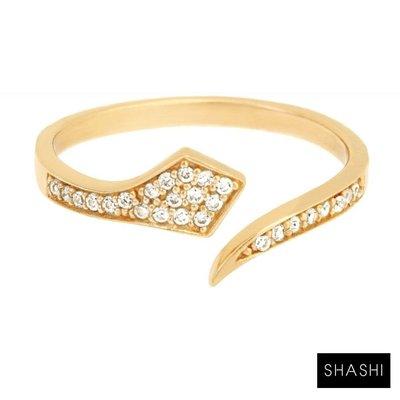 SHASHI孫芸芸款ShopSmart直營店 紐約品牌 Cobra Pave 鑲鑽美蛇C型戒指 925純銀鑲18K金