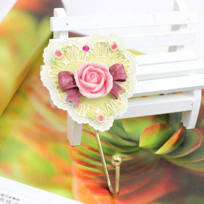 粉紅玫瑰精品屋~歐式鐵藝手繪玫瑰掛勾~現貨