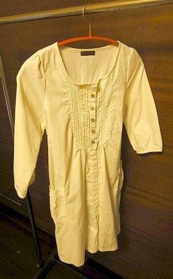 日本品牌 FORMENGIRL M號 孕婦裝 米白色 洋裝 100%純棉