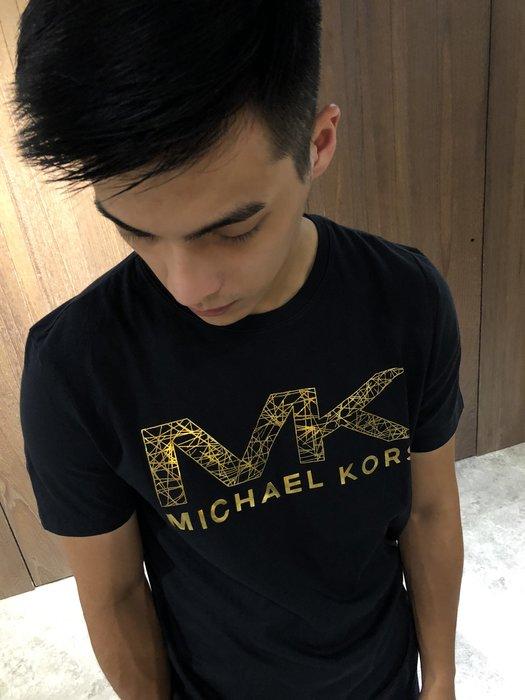 美國百分百【全新真品】Michael Kors 短袖 T恤 MK 上衣 T-shirt 黑色 logo S號 J309