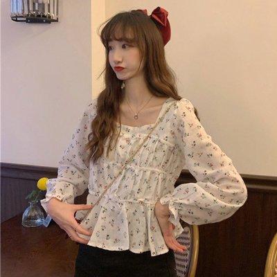小香風 短袖T恤 時尚穿搭 甜美碎花方領褶皺修身 顯瘦 套頭法式長袖打底襯衫女裝