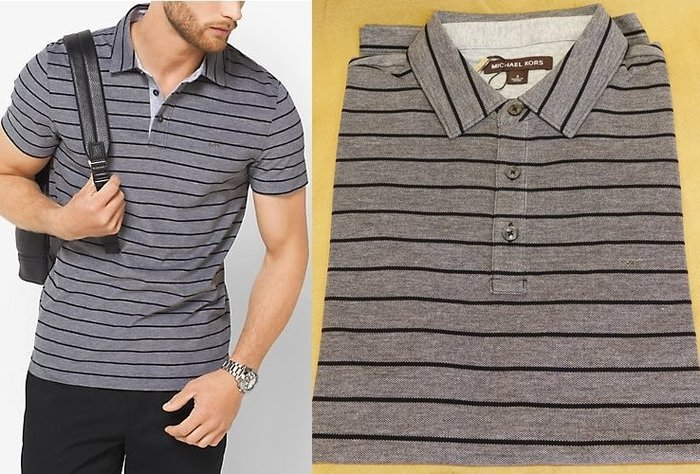 大降價!全新 Michael Kors Men MK 高質感黑灰色條紋 POLO 衫!低價起標無底價!本商品免運!