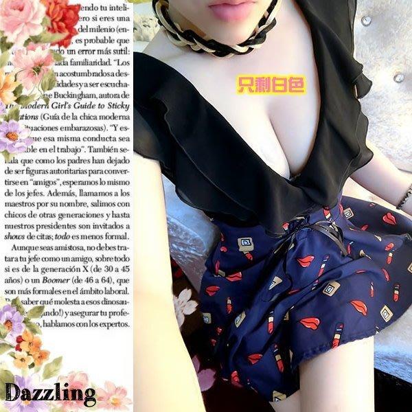 ✿Dazzling✿ 7j25-191 性感低胸深 V領爆乳低胸荷葉邊露背印花小禮服 (2色) 特↘450 夜店派對