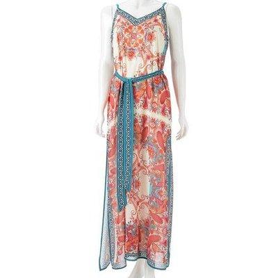 女神風細肩帶雪紡洋裝  超美的異國華麗風情洋裝  適合身高160以上的甜姐兒  肩帶可調