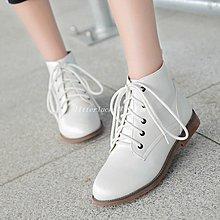 litterluck-韓國專櫃2019春秋新款平底短靴牛筋底女靴英倫單靴系帶馬丁靴子大碼40小碼