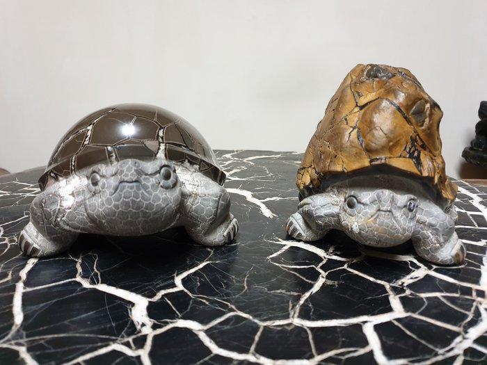 上和茶軒*台灣本土石雕龜作家 : 天淪人 老師*黃龜網花&黃龜原皮~極品對龜!