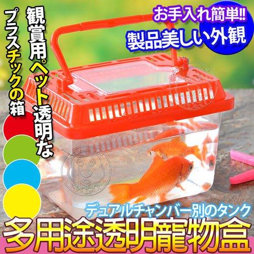【🐱🐶培菓寵物48H出貨🐰🐹】dyy》手提便利水族箱魚缸寵物盒S號15*9.5*11cm 特價65元 (蝦)
