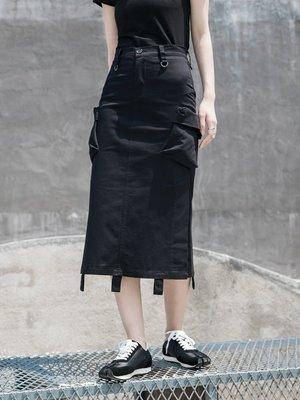   一品著衣   暗黑風工裝風直筒裙半身裙Sim