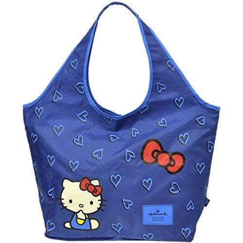 *Miki日本小舖*日本㊣版Hallmark HELLOKITTY經典愛心款可收納旅行袋/購物袋 /拉桿包 ~藍色~