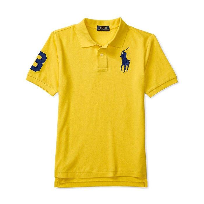 美國百分百【Ralph Lauren】Polo 衫 RL 短袖 網眼 上衣 寶藍色大馬 男款 S號 黃色 B003