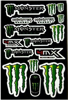 【高橋車部屋】大張彩貼 (01) 貼紙 機車 Monster 鬼爪 BWS 滑胎 越野 FOX ONE rockstar