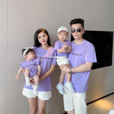 ☆MOON本鋪☆ 親子裝一家三口四口母女裝嬰兒連體爬服百日照粉色純棉短袖T恤衫潮M568