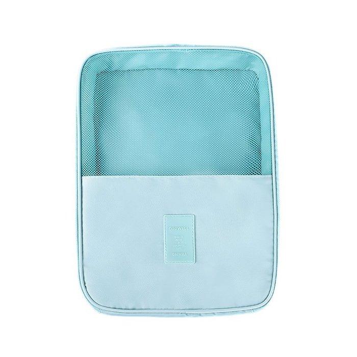 【杰元生活館】淺藍 DINIWELL新款斜紋防水加大可掛行李箱旅行用衣物鞋子袋收納用雙層三位鞋包