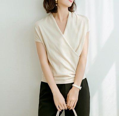 YOHO 現貨針織衫 (SDP9947) 實拍百搭純色款交叉V領針織衫 短袖上衣 S-L 有6色