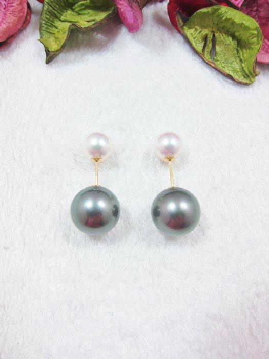 7.8-11.8mm 時尚黑白雙珍珠耳環【元圓珠寶】