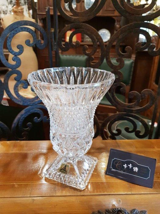 【卡卡頌 歐洲跳蚤市場/歐洲古董】德國annahutte老件_菱面雕刻水晶玻璃花瓶 水晶玻璃器皿 g0446