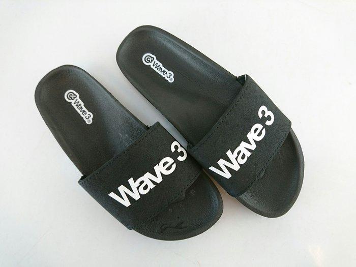 玉米潮流本舖 WAVE 3  台灣自創品牌 17101701 黑色 男款 印刷LOGO 運動休閒拖鞋 現貨
