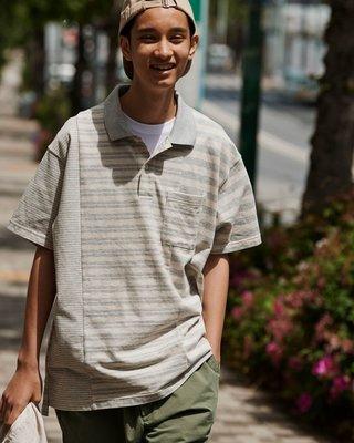 Engineered Garments x Uniqlo 條紋 拼接 Polo衫 灰白 Supreme Ape kaws