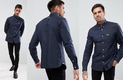 ◎美國代買◎ASOS代買Fred Perry深藍色logo經典百搭款素色長袖襯衫上衣~英倫潮牌街風~大尺碼