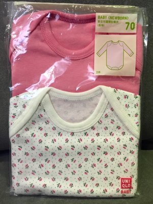 ☀APPLE SHOP☀ UNIQLO 女粉紅嬰幼兒長袖純棉包屁衣 (兩件入) 尺寸:70