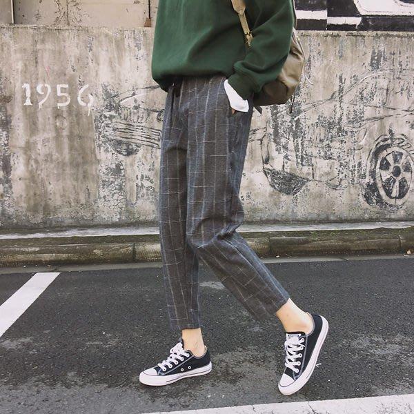 (FS-6229)原宿風個性撞色格子寬鬆哈倫褲子女 復古韓版顯瘦高腰休閒褲