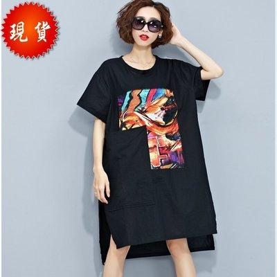 現貨出清~韓版棉麻彩繪印花 大口袋設計寬鬆連身裙 T裙  ~【BU GU時尚布谷】