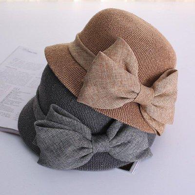哆啦本鋪 遮陽帽 純色棉麻蝴蝶結盆帽漁夫帽子太陽帽防曬折疊遮陽帽 D655
