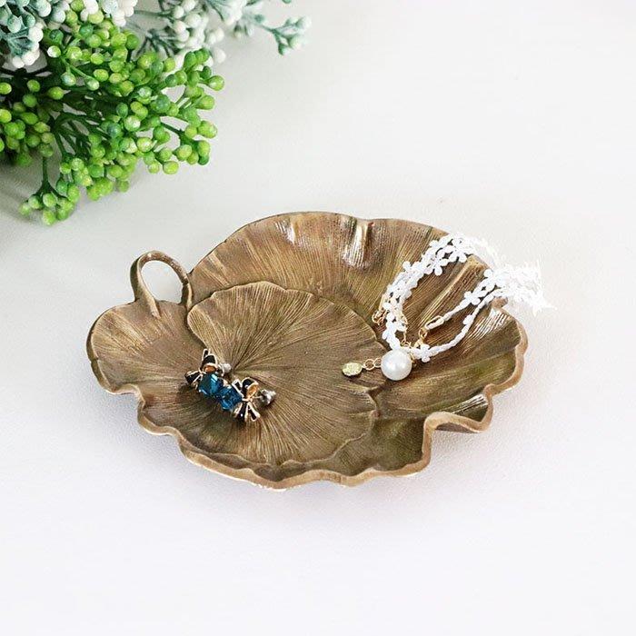 5Cgo【批發】寒霜衣 558393361613 印度進口手工復古做舊黃銅荷葉首飾盤裝飾器小型收納盤擺件銅工藝品桌面收納
