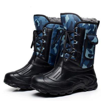 雪靴 戶外冬季加厚防水雪地靴 男加絨中筒靴防滑釣魚鞋保暖靴冰釣海釣鞋 馬丁靴—莎芭