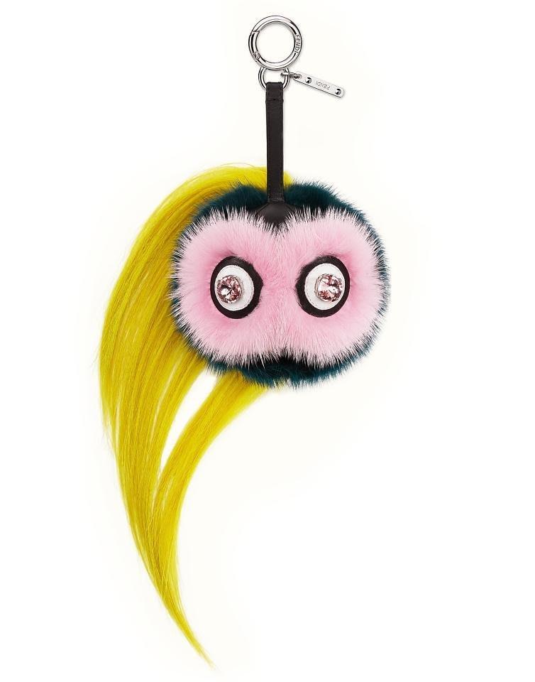 【現貨在台】Fendi專櫃真品 Beak Mohawk Fur Monster Charm小翠鳥吊飾(粉色)