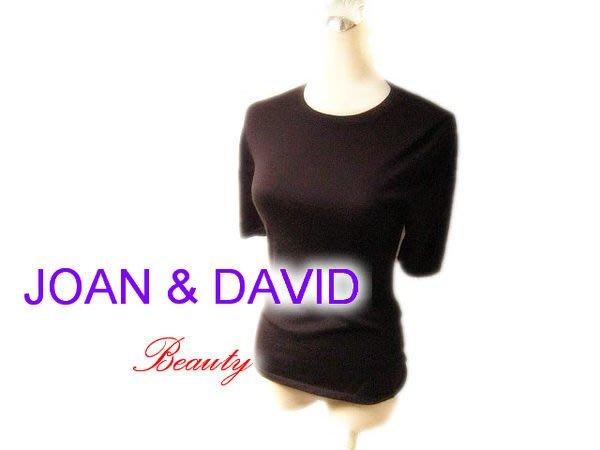*Beauty*JOAN & DAVID咖啡色短袖針織衫 IR 百分百喀什米爾