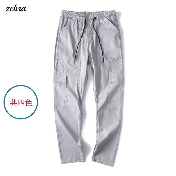ZEBRA-【FBN4165】日系 韓版  抽繩 4色 素面 翻蓋 大口袋 拼接剪裁 休閒褲 M/XL 特價 480元