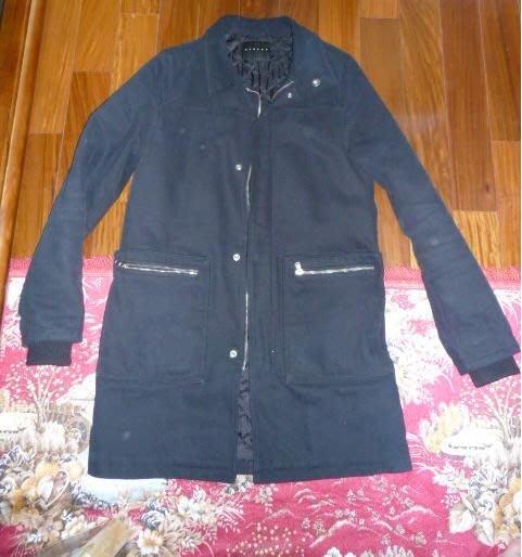 換季優惠 agnes b風格 潮流服飾 超保暖 二手sisley 時尚款 流行保暖大衣 黑 窄版48號 寒流