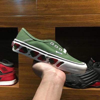 VANS Authentic SF 草綠 草莓圖案 白綠 休閒運動帆布板鞋 男女鞋 VN0A3MU6VL9
