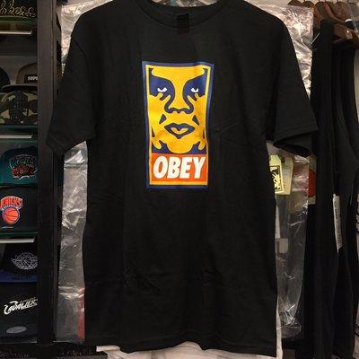 BEETLE 美國 OBEY ORANGE ICON FACE BOX T 黑 橘人臉 文字T OB-261 S