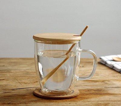 雙層玻璃杯帶蓋加厚耐熱玻璃杯馬克杯咖啡杯雙層玻璃杯水杯_☆北歐風NorthO☆