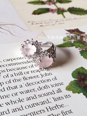 黑爾典藏西洋古董~純925銀頂級天然玫瑰粉水晶密鑲鋯石戒~珠寶愛情月老桃花情人節
