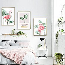北歐現代簡約粉色火烈鳥綠植龜背竹葉子裝飾畫畫芯微噴掛畫壁畫(不含框)