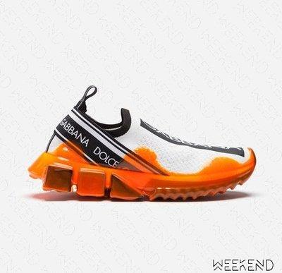 【WEEKEND】 DOLCE & GABBANA D&G Melt 融化膠底 懶人休閒鞋 襪套鞋 白+橘色 19春夏