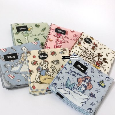 【張開先生】日本帶回 迪士尼 紗布巾-奇妙仙子、米妮、米奇、Alice愛麗絲、白雪公主、Ariel小美人魚