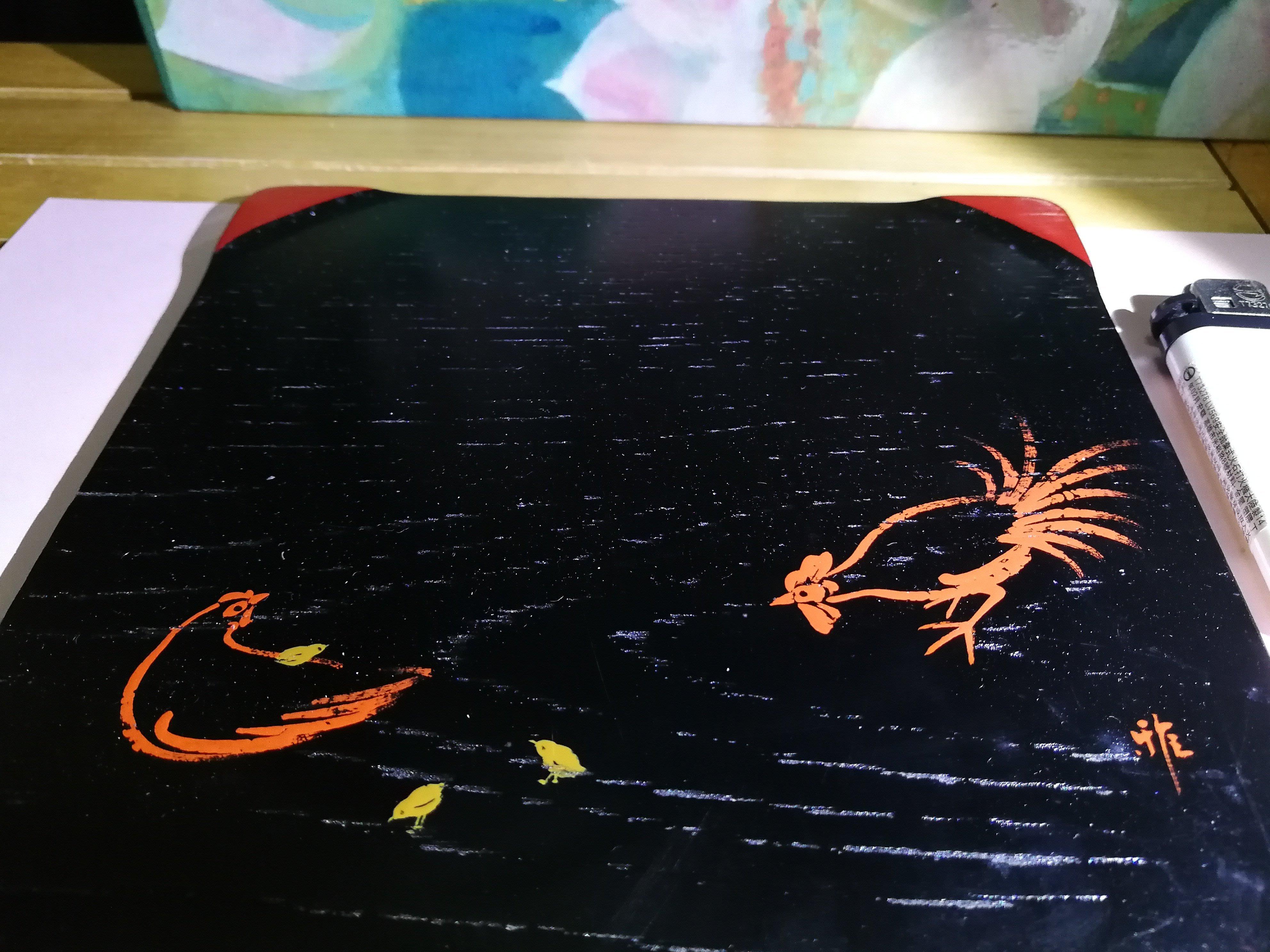 銘馨易拍重生網 107MM222 原木製 日手繪 幸福ㄧ窩 彩繪木漆盤、擺飾、收藏置物賞盤、墊木 保存如圖 讓藏