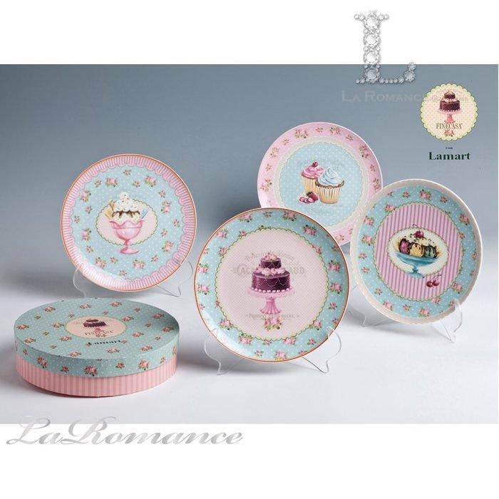 【芮洛蔓 La Romance】義大利 Lamart - 夢幻甜點系列8吋點心圓盤 (四件組) / 餐盤