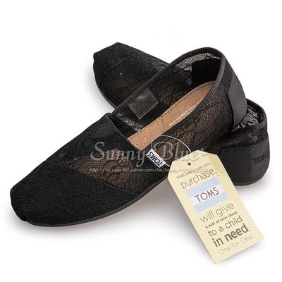 【TOMS】(女)TOMS Black Lace 蕾絲休閒懶人鞋-黑色 台北市