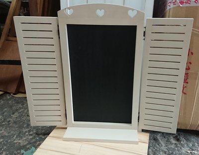 zakka糖果臘腸鄉村雜貨坊    木作類..Lorna壁架黑板(愛心黑板展示架指示牌婚禮道具佈景佈置繪畫板造型窗戶