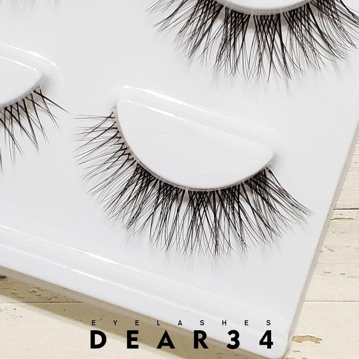 《Dear34》3D立體款S010透明扁梗眼尾加長交叉根根分明 一盒三對價
