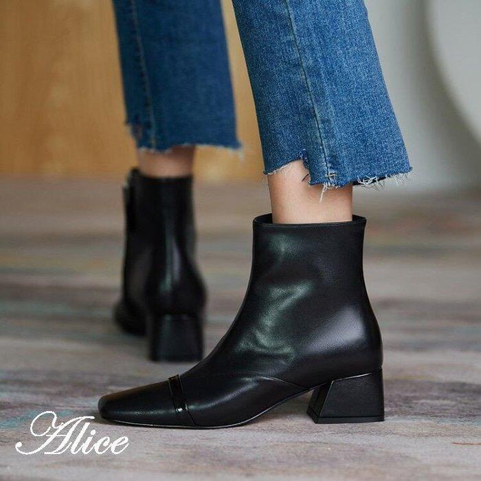『Alice❤愛麗絲』秋冬復古百搭粗跟彈力瘦瘦靴女方頭英倫風時尚馬丁靴高跟短靴