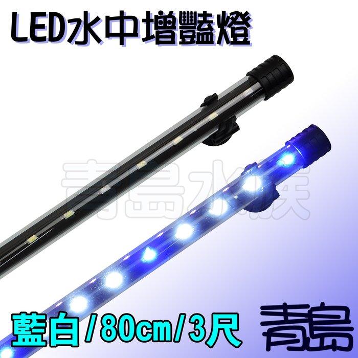 GG。。。青島水族。。。uw90g台灣無敵-----LED水中增豔燈 顯色水中燈 金龍 魟魚==藍白/80cm/3尺