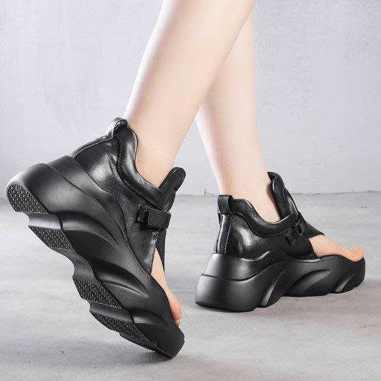 ~皮皮創~原創設計手工女鞋。真皮厚底涼鞋高幫夾腳鞋露趾鞋頭層牛皮涼鞋羅馬鞋