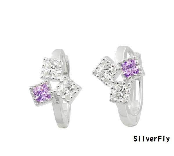 白紫鑽純銀易扣耳環《 SilverFly銀火蟲銀飾 》