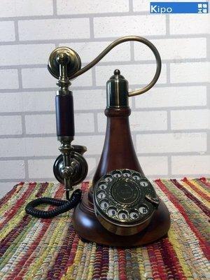 KIPO-熱銷撥號仿古復古電話機 旋轉金屬鈴聲老式撥盤 實木電話座機-NCH0300J1A